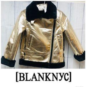 Blank NYC | Gold Metallic Fur Lined Moto Jacket